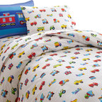 Wildkin - Olive Kids Trains, Planes, Trucks Full Duvet Cover - Trains, Planes & Trucks is an Olive Kids classic! Our duvet cover features airplanes, trucks and trains all over the soft cotton percale fabric. Button closure.