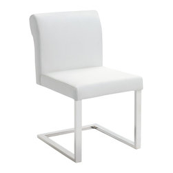 Nuevo Living - Bruno Dining Chair in White Leather by Nuevo - HGTA157 - Enhance your dining experience with the sleek design of this gorgeous modern Bruno dining chair in Italian leather finish. Featuring a leather wrapped CFS foam seat with hardwood frame, the Bruno dining chair works well in any decor. The base is made of satin stainless steel.  This contemporary dining chair is available in your choice of color and works great with a modern dining table, or adds a touch of something modern to a more traditional table. With a simple elegant look, this dining chair easily complements any space.  Available in Black, Brown, or White.  Unfortunately we only have this pictured in black and brown so while this listing is pictured in black it is actually for the WHITE leather version of this chair.