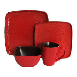 Jay Import Co - Caliente Red 16 Piece Dinnerware Set - Spice things up at your table with this 16-piece dinnerware set (full service for four). The bright red, speckled finish and unexpected square plates bring the heat to highlight your everyday meals.