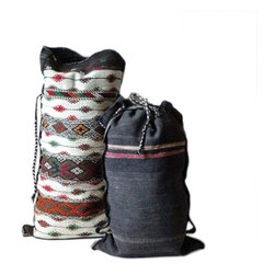 Vintage Tribal Pattern Satchel - Each gorgeous sack is woven out of natural hemp and flax into a traditional tribal pattern. The sack is functional for an overnight bag, for holding dirty laundry, or even as a gorgeous wall-hanging pinned in your outland-inspired room.