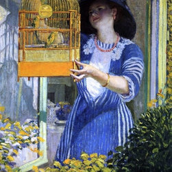 "Frederick Carl Frieseke The Open Window (The Bird Cage) Print - 18"" x 24"" Frederick Carl Frieseke The Open Window (also known as The Bird Cage) premium archival print reproduced to meet museum quality standards. Our museum quality archival prints are produced using high-precision print technology for a more accurate reproduction printed on high quality, heavyweight matte presentation paper with fade-resistant, archival inks. Our progressive business model allows us to offer works of art to you at the best wholesale pricing, significantly less than art gallery prices, affordable to all. This line of artwork is produced with extra white border space (if you choose to have it framed, for your framer to work with to frame properly or utilize a larger mat and/or frame).  We present a comprehensive collection of exceptional art reproductions byFrederick Carl Frieseke."