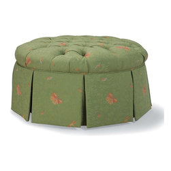 Fairfield Chair Company - 19.50 in. Tall Cocktail Ottoman (Fabric: Bitt - Fabric: Fabric: BittersweetA round, button tufted seat and a skirted base add visual interest to this cocktail ottoman, a charming addition to any decor. Ideal for bringing a feminine touch to your space, the ottoman is available in your choice of fabrics and has a durable hardwood frame. Tufted seat. 3L poly dac standard cushion. Traditional style. Upholstered seat. Made from hardwood and fabric. 34.50 in. Diameter x 19.50 in. HSooner or later our existing home furnishings lack luster and style and we yearn for updated styles, softer leathers and more colorful fabrics. The upholstered chair collection by Fairfield allows more flexibility in these decorating choices to meet your individual needs. Whether it is refurnishing an existing den or updating a home office, browse through our wide variety of chairs and you'll soon notice that we have a style to suit all your needs.