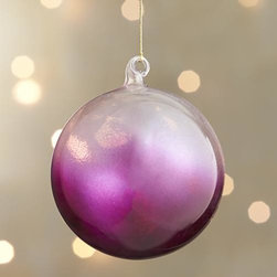 Hot Pink Global Dip Dyed Ball Ornament - Translucent glass orbs and teardrops are hand-dipped in jewel tones for an ethereal, luxe look.