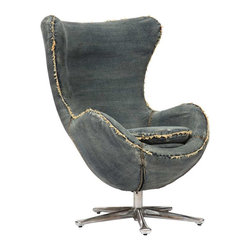 Zuo Modern - Zuo Modern Winchester Armchair Blue Denim - Inspired by mid-century design, the Winchester armchair is the perfect blend of comfort and design. The body is wrapped in a denim fabric and the base is 100% chrome.
