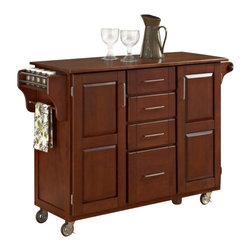 Home Styles - Home Styles Create-a-Cart in Warm Oak Finish with Oak Top - Home Styles - Kitchen Carts - 91001066G - Home Styles Create-a-cart in a cottage oak finish with a 3/4 inch oak finished wood top features solid wood construction, and 4-Utility drawers; 2 cabinet doors open to storage with adjustable shelf inside; Handy spice rack with Towel bar; Paper Towel holder; Heavy duty locking rubber casters for easy mobility and safety. Size: 48w 17.75d 35.5h. Assembly required.