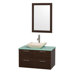 Wyndham - Amare 36in. Wall Vanity Set in Espresso w/ Green Glass Top & Ivory Marble Sink - Modern clean lines and a truly elegant design aesthetic meet affordability in the Wyndham Collection Amare Vanity. Available with green glass or pure white man-made stone counters, and featuring soft close door hinges and drawer glides, you'll never hear a noisy door again! Meticulously finished with brushed Chrome hardware, the attention to detail on this elegant contemporary vanity is unrivalled.