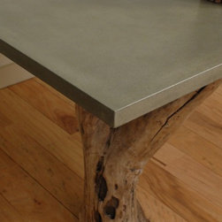 "Concrete & Driftwood Table - Glass Fiber Reinforced Concrete, Natural Grey, Top: 36"" x 54"",  Satin Finish"