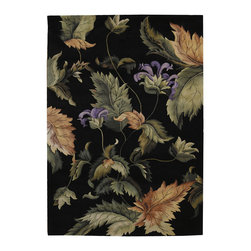 """Nourison - Nourison Tropics Floral Leaves Black 7'6"""" x 9'6"""" Rug by RugLots - This collection features imaginative tropical floral designs in a striking range of colors. Add drama and excitement with these beautiful hot-house interpretations. Heat up the surroundings and bring a touch of the tropics to any interior."""