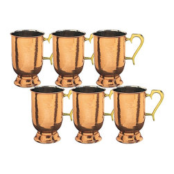 Old Dutch - Solid Hammered Copper Brass-handled Tankards (Set of 6) - This handsome hammered stein set features a solid copper construction with a protective, tarnish-resistant coating. The inner nickel lining and comfortable solid brass handles make these beautiful tankards a must-have addition to your barware.
