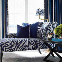 Diane von Furstenberg - Drapery panels: Deck Band in Cobalt - 33104-515, Trim: Geo Club Border in Indigo - T30672-515; Furniture: Pasadena One Arm Chaise AS500LAH, Fabric: Funky Zebra in Indigo - Funkyzebra-5; Pillows: Microsuede in Persian - 33093-850 & Microsuede in Patriot - 33093-555 Trim: Geo Club Border in Indigo - T30672-515; Table: Mirrored X Cocktail Table OT413 Lamp Shade: Funky Zebra in Indigo - Funkyzebra-5
