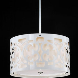 Hermosa White 3-light Pendant Chandelier - With its scroll-like cut pattern, this pendant would cast swirls of shadows around a small dining area or feminine bedroom. I'd pair it with warm wood tones for a natural contrast.