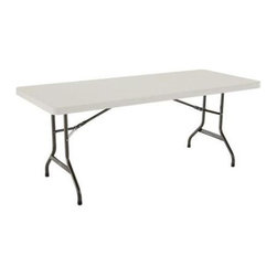 Lifetime - 6 ft. Banquet Folding Table in Almond & Bronz - Choose Quantity: 1 TableMaterials made of powder-coated steel and high-density polyethylene (HDPE) plastic. Indoor and outdoor folding table. Stain resistant and easy to clean. No assembly required. Meets BIFMA standards. 10-Year limited warranty. 72 in. L X 30 in. W x 29 in. H Of all Lifetime products, our 6 ft. folding table is a basic essential for your home. From extra seating at parties to display tables at your next garage sale, this table is simple to use and easy to store. Lifetime tables fold flat and are lightweight, making them easy to store in the garage, basement, attic, or closet. The stain-resistant plastic surface is easy to clean with minimal low maintenance and guaranteed not to fade, crack, or peel.