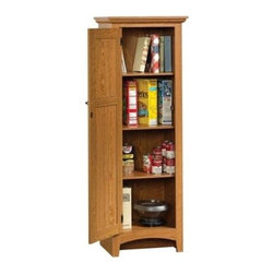 Sauder - Summer Home Pantry Storage in Carolina Oak Fi - 3 Adjustable shelves behind framed door with beaded panel. Made of engineered wood. Assembly required. 21 in. W x 14 in. D x 61 in. H