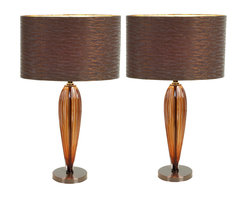 "ecWorld - Urban Designs 25"" Brown Glass Art Table Lamp with Bronze Shade - Set of 2 - The Glass Art lamp from Urban Designs brings high style and contemporary character to your home. The glass base is fashioned in a sleek bullet shape for maximum visual impact. Paired with a warm bronze drum shade, the lamp exudes marvelously modern taste."