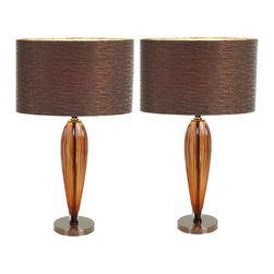 """ecWorld - Urban Designs 25"""" Brown Glass Art Table Lamp with Bronze Shade - Set of 2 - The Glass Art lamp from Urban Designs brings high style and contemporary character to your home. The glass base is fashioned in a sleek bullet shape for maximum visual impact. Paired with a warm bronze drum shade, the lamp exudes marvelously modern taste."""