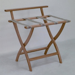 "Wooden Mallet - Luggage Rack w Tapestry Webbing in Light Oak - Our unique ""Wall Saver"" feature prevents costly wall damage. Has multiple uses when it doubles as a breakfast tray holder or blanket stand. Folds flat and is easily stored in a closet or against a wall when not in use. Four 2 in. woven straps support heavy suitcases. Graceful, curved legs add a designer flair. Rated to hold suitcases up to 100 lbs.. Built using solid oak construction and state-of-the-art finish for heavy use and lasting beauty.  Made in the USA. No assembly required. All Wooden Mallet products are warranted for 1 year against defects in materials and workmanship. Overall: 29.5 in. L x 23.75 in. W x 18 in. H (7 lbs.). Open: 29.5 in. L x 23.75 in. W x 18 in. H. Closed: 29.5 in. L x 23.75 in. W x 4.5 in. HGive your guest room the feeling of a four star hotel with this beautiful luggage rack. Built using solid oak and sturdy webbing, even the heaviest suitcases are easily supported by the four 2 in. wide woven straps. Our unique ""Wall Saver"" feature prevents costly wall damage. This luggage rack has multiple uses when it doubles as a breakfast tray holder or blanket stand. These luggage racks fold and unfold easily. Take it out for guests, and then fold it up for easy storage. It is also a great in the master bedroom for packing suitcases for business trips or vacations."