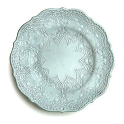 Merletto Aqua Salad Plate - Elaborate lace patterns with large floral motifs and curving scalloped edges cover the surface of the Merletto Aqua Salad Plate, enclosing the smoother center of this ceramic dish in an elegant old-world star design.  Excellent for topping off a place setting with a dose of glamorous grandeur drawn from European lacework, this salad or dessert plate was handmade in Italy.