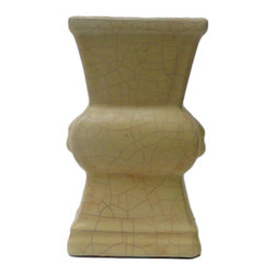 Golden Lotus - Chinese Light Yellow Cream Crackle Ceramic Vase - It is a hand made oriental style ceramic vase in light yellow cream color with crackle pattern.