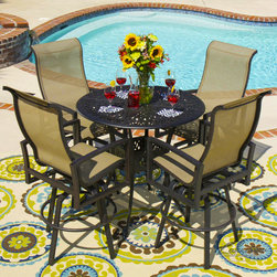 Acadia Sling Patio Furniture - Acadia from Lakeview is perfect for poolside lounging. The collection offers a modern feel with clean lines and low-maintenance sling for easy care and up keep.