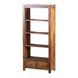 Artemano - Romy Rosewood Bookcase With 2 Drawers - Available in three finishes, this tall rosewood bookcase not only looks great in a home office or den, it also adds plenty of easy-access shelving space to display your books, decorative ornaments and whatever else you'd like to share with your friends and family.  Each Romy Bookcase is equipped with four spacious shelves and two small drawers embellished with subtle silver handles.  Each of these bookcases has a unique wood grain pattern and is cherished for its one-of-a-kind markings and natural impurities.