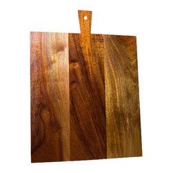 """Rustic Rectangular Wood Cutting Board With Trapezoid Handle - Distinctive look of monumental size cutting board made from Mahogany wood. Size 18 x 20 3/4"""" ; 3/4"""" thick, solid built with variation of wood grains and very appealing look as a functional and decorative element to your kitchen counter."""