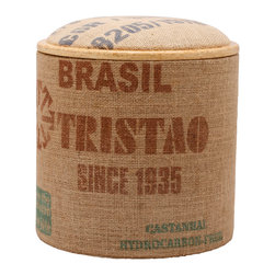 Pomada - Brasil Tristao Box Ottoman - Your room will be abuzz with talk of this cute little stool. The sturdy base is made of Teco-certified OSB, covered in printed jute coffee bags for texture and interest. The top is padded for your feet or seat, but flip it over and it becomes a side table with storage — and style.