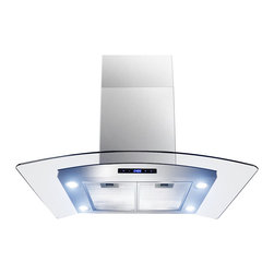 Golden Vantage - Golden Vantage 36-inch OSIRHAIS2-36-GV Curved Glass Stainless Steel Island Mount - Featuring ultra-quiet operation,easy installation,and an adjustable telescopic chimney,this wall mount range hood is the ultimate combination of convenience and performance.