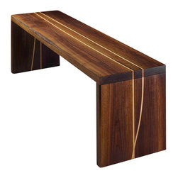 "ViVo Design Studios - Solid Walnut Bench, 64""w X 16"" X 18.25""h - ViVo's exclusive Embedded Lines bench is hand-crafted from solid Eastern black walnut, with accents of Eastern hard maple."