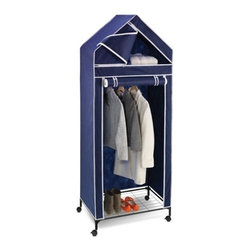 "30In Portable Storage Closet - Honey-Can-Do WRD-01273 30"" Wide Storage Closet, Navy/White Trim.  This unique wardrobe measures 30-inches wide and works great for extra hanging space or seasonal storage. The steel hanging rod will hold all of your dresses, shirts, pants and other items giving you an excuse to shop for more!  The breathable, lightweight fabric completely surrounds your garments, protecting them from dust and damage, and offers the convenience of a roll up door for easy access. Internal upper and lower shelves are perfect for folded items, shoes, bags, and accessories. Easily transport the closet from room to room on smooth rolling casters Some assembly required."