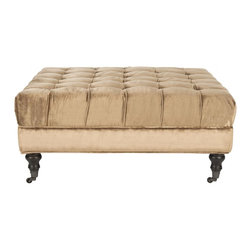 Safavieh - Clark Cocktail Ottoman - Golden Olive - Treat yourself to the club room elegance of the Clark Cocktail ottoman, an indulgence in any living room, great room or den. Richly upholstered with button tufting in golden olive cotton blend fabic , this versatile piece rests on turned arrow birch legs in espresso finish. Style it as a cocktail table with books, serving trays and more, use it as a foot rest or extra perch for guests. The Clark ottoman is a designer classic.