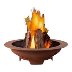 Real Flame - Atlas Wood Burning Fire Pit - -Burns seasoned firewood or converts to Real Flame Gel Cans with the addition of Real Flame 2-Can or 4-Can Outdoor Conversion Log Sets