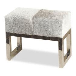 Kathy Kuo Home - Moro Hollywood Regency Grey Hide Steel Ottoman Stool - You may not be a Hollywood star but you can still be as glamorous as one with this gorgeous cowhide seat. Place it in front of your vanity or in your contemporary living room. It's not only beautiful, but functional too.