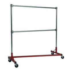 Z Racks - Heavy Duty 5 ft. Z-Rack Garment Rack w Double - Base Color: Red. 500lb capacity. 14 gauge, 60 in. Long steel base (Environmentally safe powder coated finish ). 16 gauge, 60 in. upright bars and double hang rails. 1 5/16 outside diameter upright bars and hang rail. Grey non-marking soft rubber with TP center 4 in. casters. Made in the USA. 63 in. L x 23 in. W x 67 in. HThis Z-Rack is designed to hold up to 500 lbs of apparel, while maximizing all five feet of length. And because the two rows are placed on top of each other, the rack will not tip under a heavy load.
