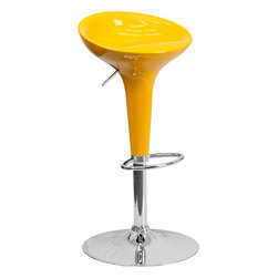 Flash Furniture - Contemporary Yellow Plastic Adjustable Height Bar Stool with Chrome Base - This Retro stool is shaped for comfort and style. The seat is joined with chrome finish base and round footrest. This attractive stool will accent your kitchen, dining, or bar area. The dual purpose design performs as a counter height stool or a bar height stool. The height adjustable swivel seat adjusts from counter to bar height with the handle located below the seat.