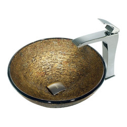 Vigo - Vigo Textured Copper Vessel Sink and Square-Edged Faucet - The bowl of this opulent vessel sink and faucet set from Vigo Industries is smooth on its interior surface, but its textured exterior is revealed on the inside of the bowl in an array of coppers and reds. Featuring a masculine, solid-brass constructed faucet with a top-set, single lever and a polished chrome finish, the Textured Copper Vessel Sink and Square-Edged Faucet set is made for durability and style