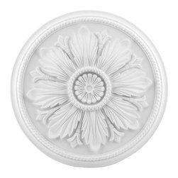 Renovators Supply - Ceiling Medallions White Urethane Ceiling Medallion 23 1/2'' Dia - Ceiling Medallions: Made of virtually indestructible  high-density  urethane our medallions are cast from  steel molds  making them the highest quality on the market. Steel molds provide a higher quality result for  pattern consistency, design clarity & overall strength & durability.  Lightweight they are  easily installed  with no special skills. Unlike plaster or wood urethane is resistant to  cracking, warping or peeling.   Factory-primed  these medallions are ready for finishing.
