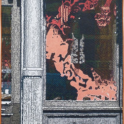Soft City: Red Dragon, Original, Mixed Media - Digitally manipulated photography, inkjet printing on cotton, hand quilted. Anodized aluminum hanging bars included (invisible from front when hung).