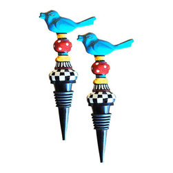 Golden Hill Studio - Metal Bird Stopper Set of 2 - Preserve the life of your favorite wine after you open it with this colorful bottle stopper. The whimsical blue bird perched on top guards the grapes until you're ready to have another drink.
