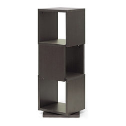 Baxton Studio - Dark Brown Ogden Three-Level Rotating Shelf - With modern form and contemporary function, this shelf features a sleek 360-degree rotation and a sleek, three-tier structure that ensures your books, photos and souvenirs are easy to see.   15.81'' W x 46'' H X 15.81'' D Engineered wood / veneer Assembly required Imported