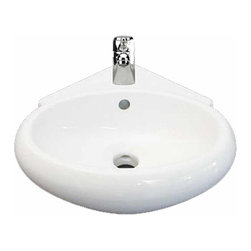 Renovators Supply - Corner Sinks China Oscar Wall/Over Counter Mount Corner Sink | 17940 - Renovators Supply Corner Sinks. Corner Vessel Sinks Wall Mount or Over the Counter Mount: Made of Grade A vitreous China these sinks endure daily wear and tear. Our protective RENO-GLOSS finish resists common household stains and makes it an EASY CLEAN wipe-off surface. Ergonomic and elegant easy reach design reduces daily strain placed on your body. SPACE-SAVING CORNER design maximizes limited bathroom space. Easy Wall mount or Over the Counter installation . Accepts single hole faucet sold separately. Measures 5 1/2 inch H x 14 1/2 inch W x 15 3/8 inch projection