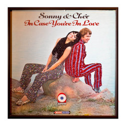 """Glittered Cher Sonny and Cher In Case You're in Love Album - Glittered record album. Album is framed in a black 12x12"""" square frame with front and back cover and clips holding the record in place on the back. Album covers are original vintage covers."""