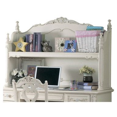 Homelegance - Homelegance Cinderella Writing Desk Hutch in White - The Cinderella collection is your little Child's dream. The Victorian styling incorporates floral motif hardware, ecru painted finish and traditional carving details that will create the feeling of a room worth of a fairy tale princess.