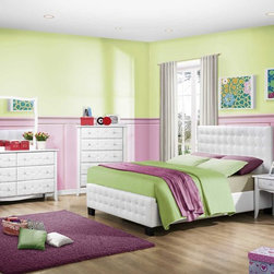 Sparkle Upholstered Bedroom Set in White - This example of a bright and positive bedroom. White furniture blends with colored walls. The Sparkle Upholstered Bedroom Set includes a bed, two night stands, dresser, mirror, chest. All the furniture in this collection is made in a modern style. White bi-cast vinyl is featured on headboard and on the drawers fronts of each case peace.