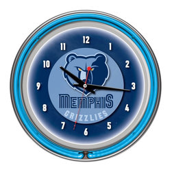 Trademark Global - Memphis Grizzlies NBA Chrome Double Ring Neon - High Grade Glass Cover. High Polished Chrome Finish Molded Resin Housing. Officially Licensed Full Color Logo on the Clock Dial. Double Ringed Neon (Outside Ring Coordinates with Printed Logo and Inside Ring Illuminates the Clock Face). Battery Operated Quartz Clock Mechanism. Requires 1 AA Battery for Clock Operation (Not Included). AC Power Adapter with 6 ft. Cord . Wall Hanging Mount. Dimensions: 3 x 14.5 x 14.5 inchesEvery game room, garage or man cave could use the addition of an officially licensed neon clock. So why not add one of the highest grade clocks on the market to your collection? This impressive clock has not just one but two neon rings. It has an accent colored neon ring on the exterior and a brilliant white neon ring on the interior of the clock to light up your favorite logo. Other highlights include chrome finished resin housing and a high grade glass clock face cover. The battery operated quartz clock mechanism will keep your new prize precise and ticking for a long time, while the neon runs off the included AC adapter. The neon is controlled by the pull chain and the back of the clock includes a wall hanging mount. The 3 inch depth of this clock combined with the radiant shimmer of the neon reflecting off the chrome housing is sure to make this clock pop off of any wall. Bring style and function to your game room,garage or collection with an officially licensed double ringed neon clock.