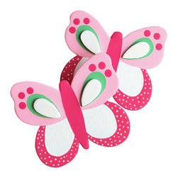 """Little Elephant Company - Bella Butterfly Quilt Clips set of 2 - Beautiful quilt clips that transform your treasured baby quilts and comforters into charming hanging artwork for your child's room.    Very easy to use.  ***    This listing is for a set of two (2) beautifully detailed hand painted butterfly quilt clips. The wings are painted in fuschia, white, light pink, and meadow green, and the body is fuschia. One butterfly will fly to the right, and one will fly to the left.    These quilt clips are perfect for butterfly and garden themed bedding sets.    Each butterfly measures 3 in. x 3.5 in.    How many quilt clips do I need?  - For a quilt that is still stiff and new, you will only need 2 quilt clips for up to 36 inches wide. Many people will do 3 quilt clips just for the look, though. For a quilt that has been washed and is pliable, 2 clips will be sufficient for up to 36 inches, but you may want 3 clips to help keep the center from sagging. For a quilt 36 to 42 inches wide, use 3 to 4 clips. For a quilt 42 to 50 inches, use 4 to 5 clips.    How do the quilt clips work?  - The only hardware is needed is a long nail, approximately 1 1/2"""" to 2 1/2"""" in length.  - Measure how far apart you would like the clips to be.  - Decide how high on the wall they will be placed and mark your first spot. Using a level, measure out and mark the second spot.  - Place your nails into the wall at a 45 degree angle. IMPORTANT: If your nail is not at a 45 degree angle, the clip may slip off the nail.  - Clip the quilt and slide the back of the clip over the nail.    What are the clips made of?  - Designs are made of layered wood. A few of our designs also have layered felt.   - Clips on the back are a sturdy plastic so as not to damage your fabric."""