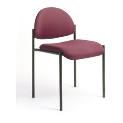 Boss Chairs - Boss Chairs Boss Diamond Stacking in Burgundy - Contemporary style. Powder coated steel frames. Tapered legs. Stackable for space saving storage space. Waterfall seat reduces stress on legs. Stacks 4 high.