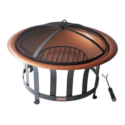 Hospitality Rattan - Panama Jack Round 30 in. Copper Plated Fire Pit with Metal Base - Black - PJO-50 - Shop for Fire Pits and Fireplaces from Hayneedle.com! Throw a few logs on the Panama Jack Round 30 in. Copper Plated Fire Pit with Metal Base - Black and get ready to spend some quality time outdoors. This set includes a safe and attractive spark-screen a log grate to protect the bowl and tongs to let you remove the grate without roasting your fingers. Ideally sized for medium fires the 30 inch copper plated bowl will patina nicely over time and last much longer than comparable steel fire bowls. About Hospitality Rattan Hospitality Rattan has been a leading manufacturer and distributor of contract quality rattan wicker and bamboo furnishings since 2000. The company's product lines have become dominant in the Casual Rattan Wicker and Outdoor Markets because of their quality construction variety and attractive design. Designed for buyers who appreciate upscale furniture with a tropical feel Hospitality Rattan offers a range of indoor and outdoor collections featuring all-aluminum frames woven with Viro or Rehau synthetic wicker fiber that will not fade or crack when subjected to the elements. Hospitality Rattan furniture is manufactured to hospitality specifications and quality standards which exceed the standards for residential use. Hospitality Rattan's Environmental Commitment Hospitality Rattan is continually looking for ways to limit their impact on the environment and is always trying to use the most environmentally friendly manufacturing techniques and materials possible. The company manufactures the highest quality furniture following sound and responsible environmental policies with minimal impact on natural resources. Hospitality Rattan is also committed to achieving environmental best practices throughout its activity whenever this is practical and takes responsibility for the development and implementation of environmental best practices throughout all o