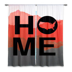 """DiaNoche Designs - Window Curtains Unlined - Jackie Phillips Home USA Red - Purchasing window curtains just got easier and better! Create a designer look to any of your living spaces with our decorative and unique """"Unlined Window Curtains."""" Perfect for the living room, dining room or bedroom, these artistic curtains are an easy and inexpensive way to add color and style when decorating your home.  This is a woven poly material that filters outside light and creates a privacy barrier.  Each package includes two easy-to-hang, 3 inch diameter pole-pocket curtain panels.  The width listed is the total measurement of the two panels.  Curtain rod sold separately. Easy care, machine wash cold, tumbles dry low, iron low if needed.  Made in USA and Imported."""