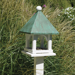 None - Blue Verde Copper Mini Bird Feeder - The base of this bird feeder is made of a solid cellular vinyl, a wood alternative that gives you the look and feel of wood. The copper top features the verde patina look right out of the box.