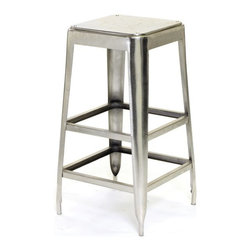 Maxwell Stool - Keep this multi-utility stool from the French country furniture collection. It is made up of steel with a glossy nickel finish. It will stand test of time as it is made up of robust material.